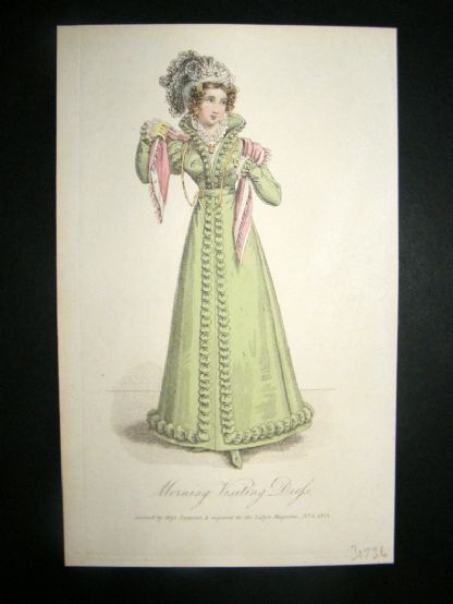 Lady's Magazine 1823 H/Col Regency Fashion Print. Morning Visiting Dress 43 | Albion Prints